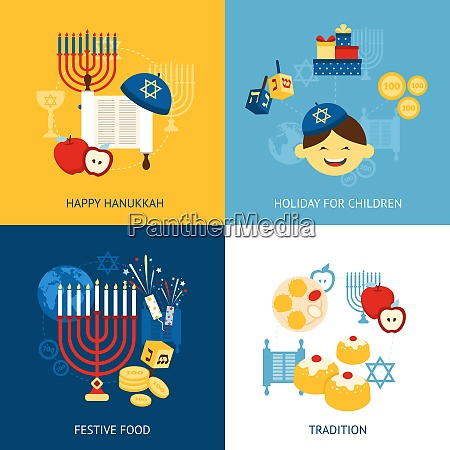 hanukkah design concept set with religious