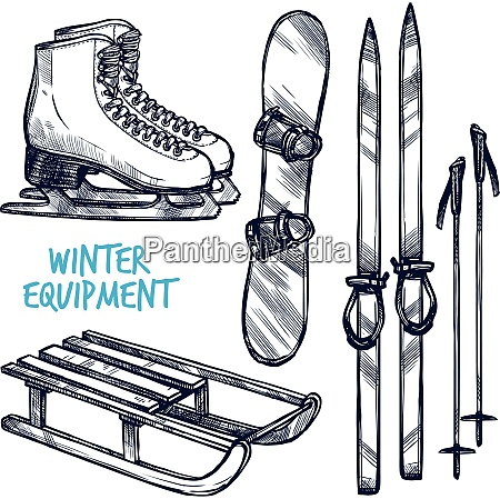 sketch winter sport objects with hand