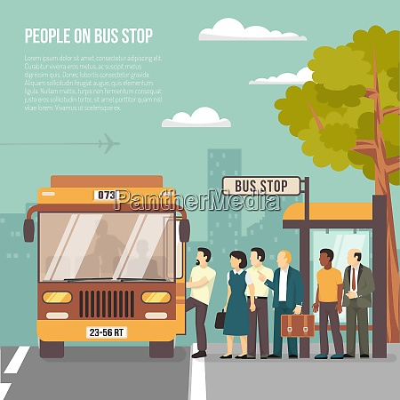 people getting on bus at shelter