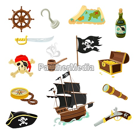 pirate accessories flat icons collection with