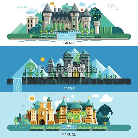 antique castles horizontal banners with buildings