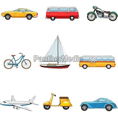 comic flat transport images set of