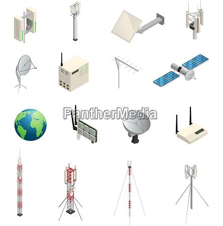 isometric icons set of wireless communication