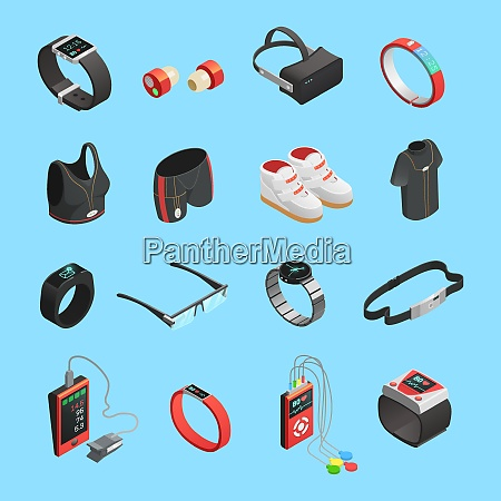 wearable technology isometric icons set with