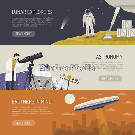 astronomy horizontal banners set of lunar