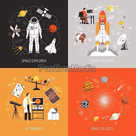 astronomy 2x2 design concept with cosmonaut