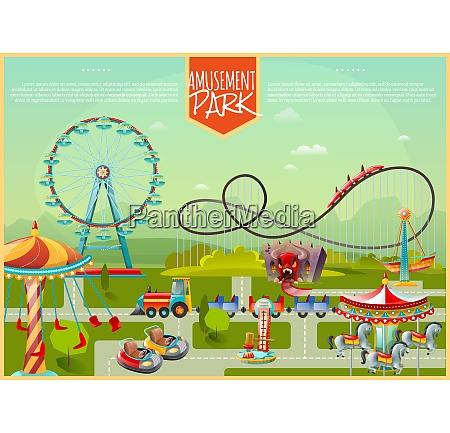 amusement park design composition with ferris
