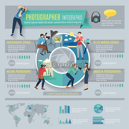 photographer infographics set with people with
