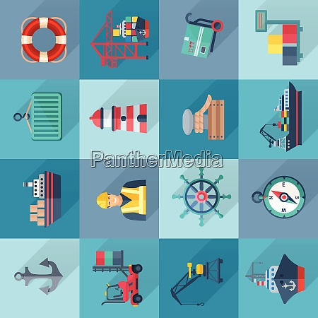 sea port flat icons set with