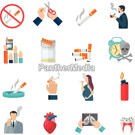 smoking flat icons set with cigarette