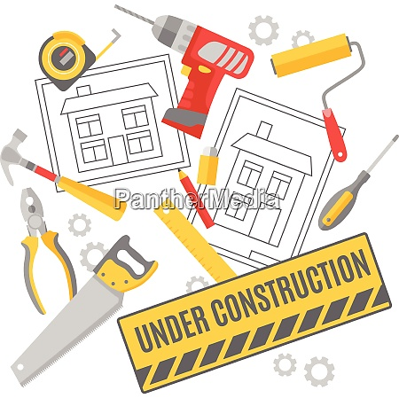 construction worker building project technical drawing