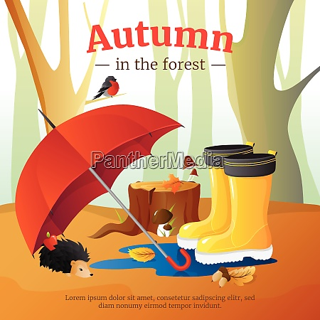 autumn in forest poster with red