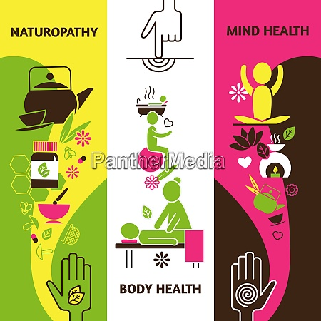 alternative medicine vertical banners set with
