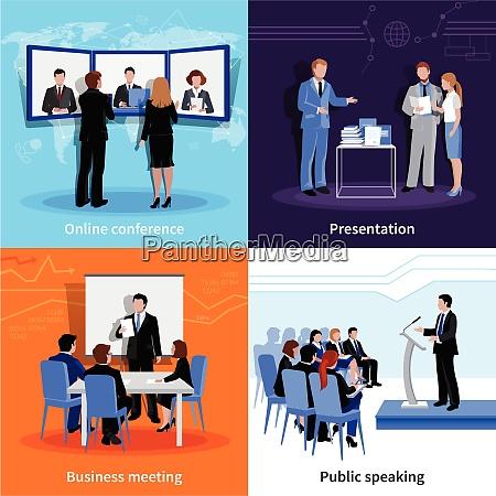 public speaking 4 flat icons square