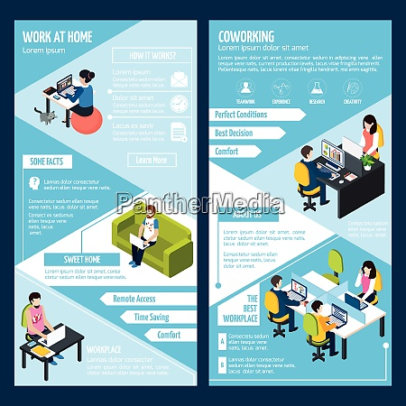 coworking vertical banners set with work