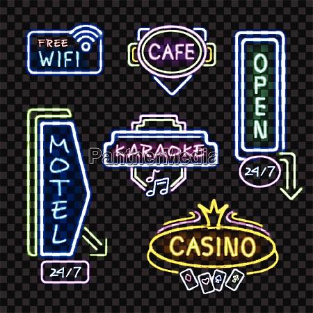 neon motel internet cafe open signboards