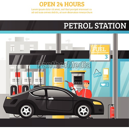 petrol station flat composition with worker