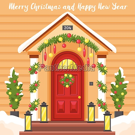 new year card with front house
