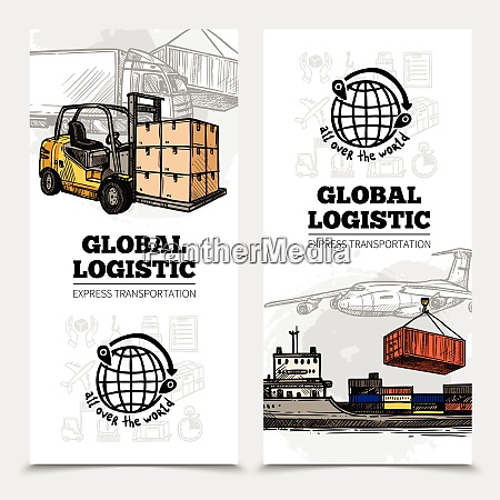 global logistics vertical banners with land