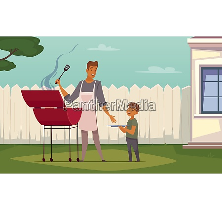 summer weekend barbecue on patio lawn