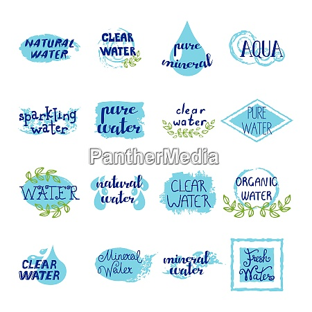 water retro labels set of blue