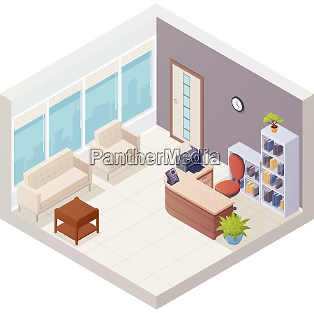 isometric office reception interior with desk