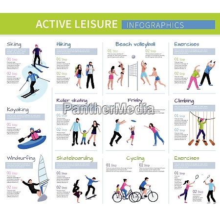 active leisure people infographics with different
