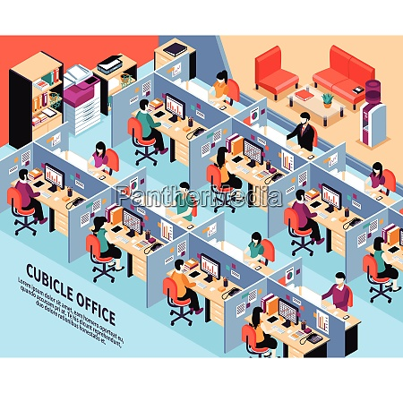 office workplace isometric vector illustration with