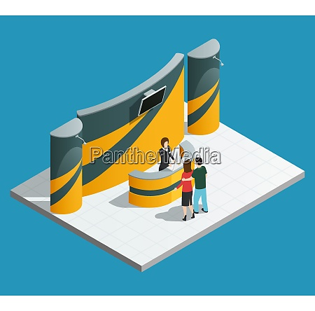 exhibition promotion stand composition with isometric