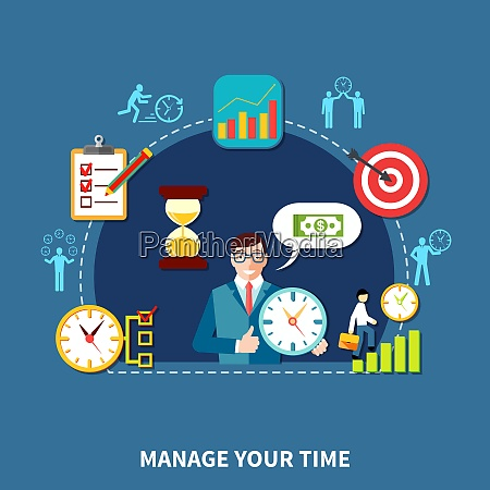 composition of time management flat icons