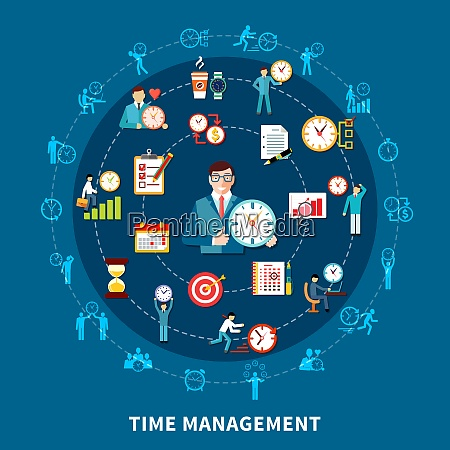 circle composition of time management pictogram
