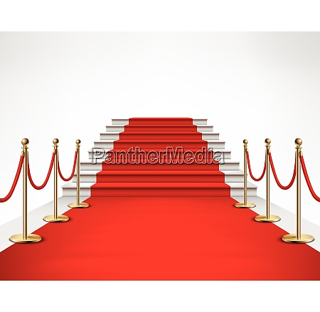 red carpet event with white marble