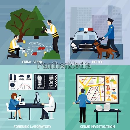 crime investigation flat design concept with