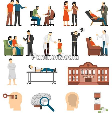 flat color icons set depicting psychologist