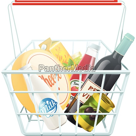 shopping basket concept with wine cheese