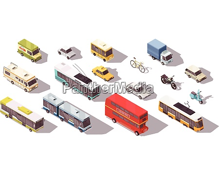 transport isometric set with bus car