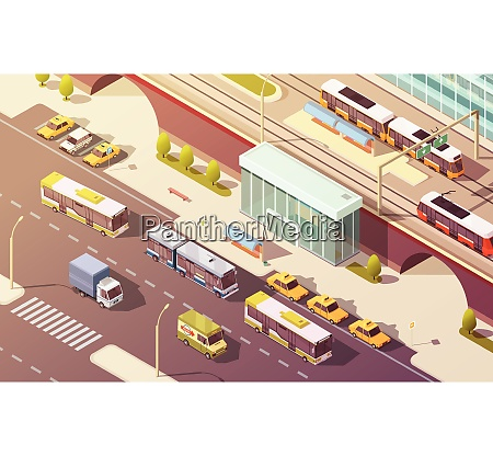 city transport with bike car bus