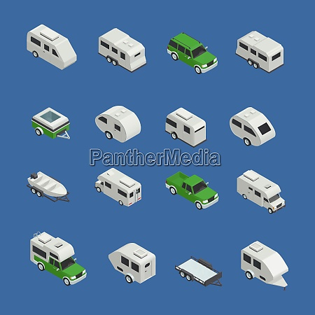 recreational vehicles isometric icons set on