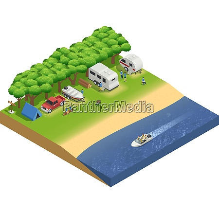 recreational vehicles on beach isometric composition