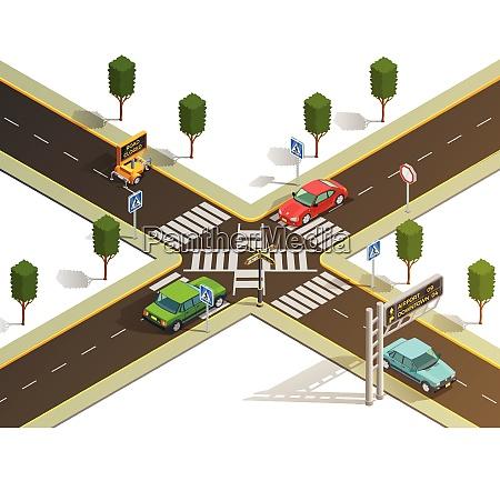 city suburb crossroads navigation isometric view