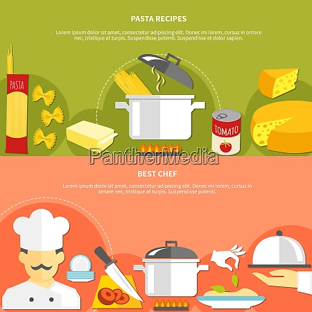 food flat horizontal banners with ingredients