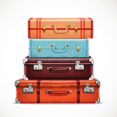 classic leather retro travel suitcases pile