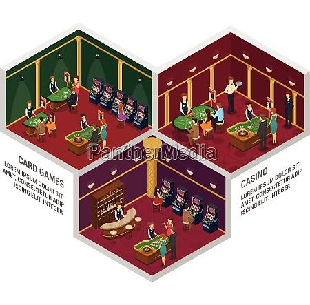 three colored casino isometric interior compositions
