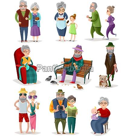 senior people cartoon set of different