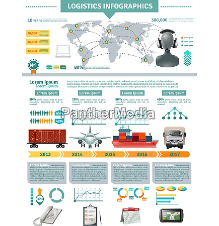 global logistics infographics with network distribution