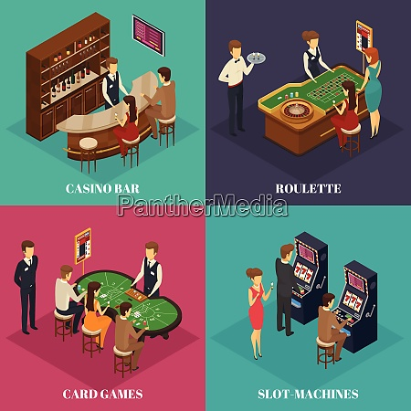 four square casino isometric composition with
