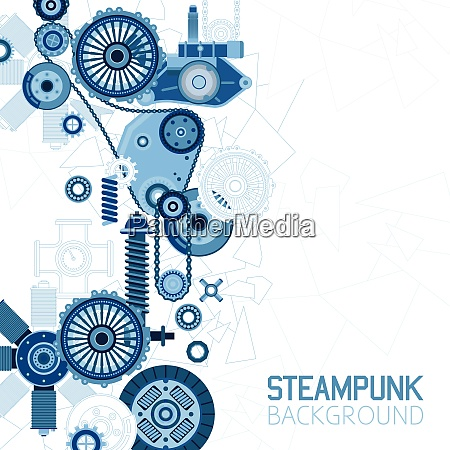 steampunk futuristic background with mechanical engineering
