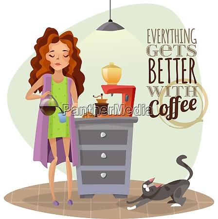 morning awakening cartoon vector illustration with