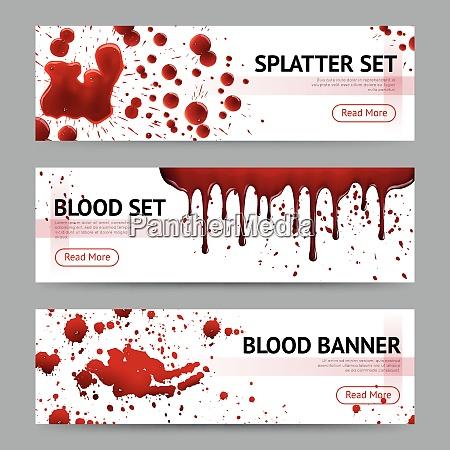 blood splatters sets realistic 3 horizontal