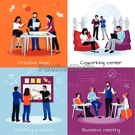 coworking people 2x2 design concept with